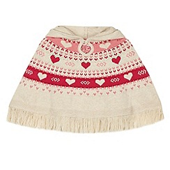 bluezoo - Girl's beige heart knitted poncho