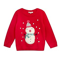 bluezoo - Girl's red Christmas snowman jumper