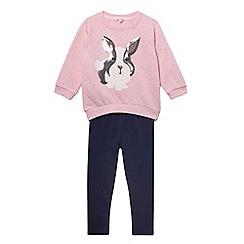 bluezoo - Girl's pink sequin rabbit sweat top and leggings set