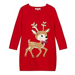 bluezoo - Girl's red reindeer knit Christmas jumper