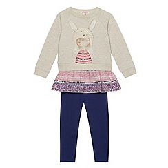 bluezoo - Girl's natural bunny print sweat and leggings set
