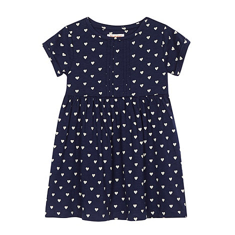 bluezoo - Girl+s navy jersey heart printed dress