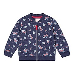 bluezoo - Girl's blue floral quilted bomber jacket