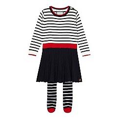 J by Jasper Conran - Designer girls navy knitted dress and tights set