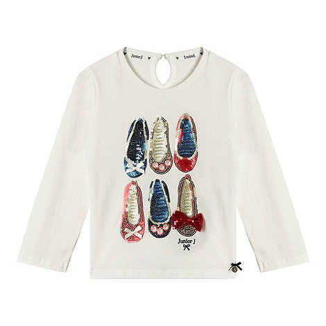 J by Jasper Conran - Designer girl+s cream shoe t-shirt