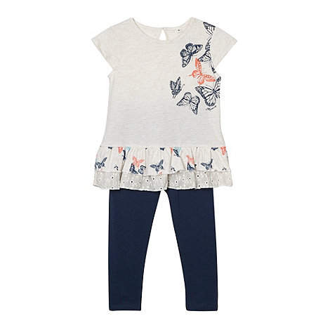Mantaray - Girl+s off white butterfly print top and leggings set
