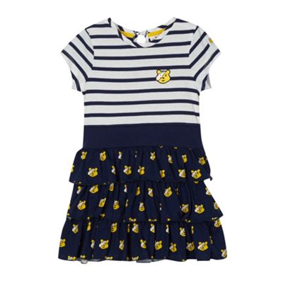 BBC Children In Need Girl´s navy ´Pudsey´ printed tiered dress - . -