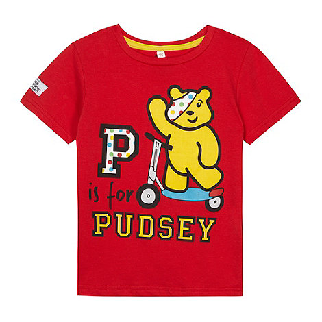 BBC Children In Need - Boy+s red +P is for Pudsey+ t-shirt