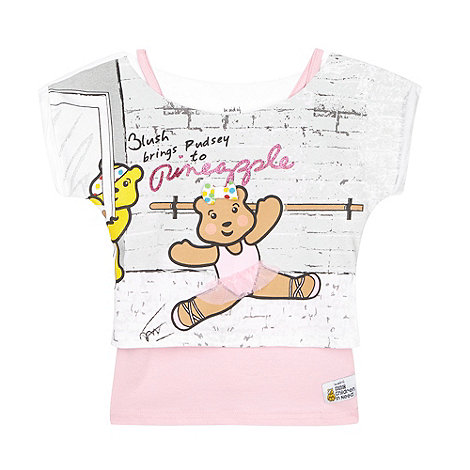 BBC Children In Need - Girl+s pink 2-in-1 dancing +Blush+ print top and vest