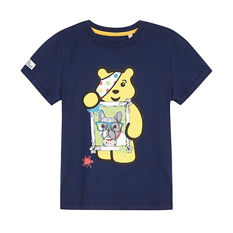 BBC Children In Need - Girl's navy 'Pudsey' bulldog print t-shirt