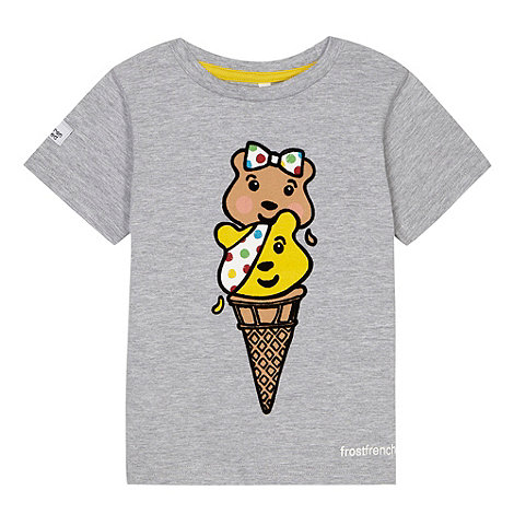 BBC Children In Need - Girl+s grey +Pudsey+ ice cream print t-shirt