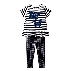bluezoo - Girl's navy sequin butterfly striped set