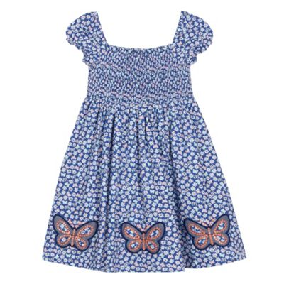 bluezoo Babies blue ditsy butterfly dress - . -