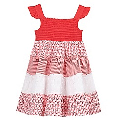 bluezoo - Girl's red tiered floral and broderie dress