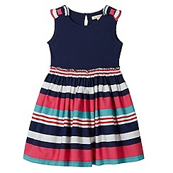 bluezoo - Girl's navy striped skirt jersey dress