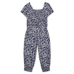 bluezoo - Girl's navy woven ditsy floral jumpsuit