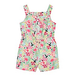 bluezoo - Girl's pink jungle print playsuit