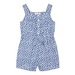 bluezoo - Girl's blue daisy butterfly playsuit