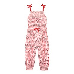 bluezoo - Girl's red floral bow jumpsuit