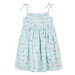 bluezoo - Girl's aqua bunting print dress