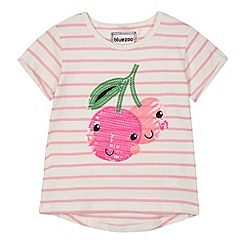 bluezoo - Girl's pink sequin cherries t-shirt