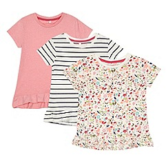 bluezoo - Babies pink and white pack of three peplum t-shirts