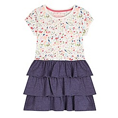 bluezoo - Girl's navy floral frilly skirt dress