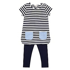 bluezoo - Girl's navy striped tunic and leggings set