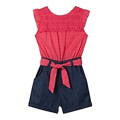 bluezoo - Girl's pink broderie scalloped playsuit