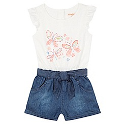 bluezoo - Girl's white butterfly playsuit