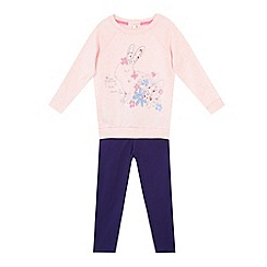 bluezoo - Girl's pink bunny jumper and leggings set