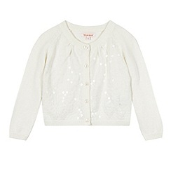 bluezoo - Girl's cream sequin cardigan