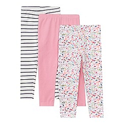 bluezoo - Pack of three girl's pink leggings