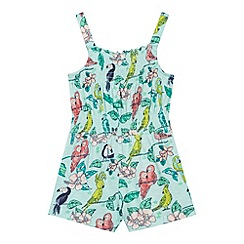 bluezoo - Girl's green tropical playsuit