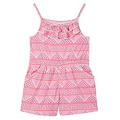 bluezoo - Girl's pink jersey aztec playsuit