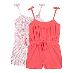 bluezoo - Pack of two girl's red playsuits