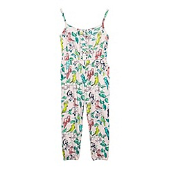 bluezoo - Girl's light pink tropical print jumpsuit