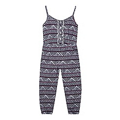 bluezoo - Girl's navy aztec print jumpsuit