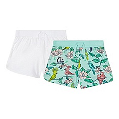 bluezoo - Pack of two girl's aqua bird print shorts