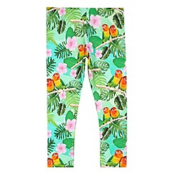 bluezoo - Girl's green digital tropical print leggings