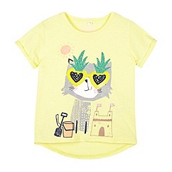 bluezoo - Girl's light yellow sunglasses cat t-shirt