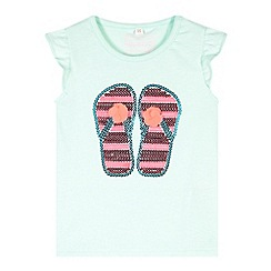 bluezoo - Girl's aqua sequin flip flop t-shirt