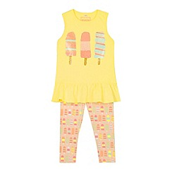 bluezoo - Girl's yellow lolly vest and leggings set