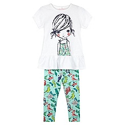 bluezoo - Girl's white girl printed t-shirt and tropical leggings set
