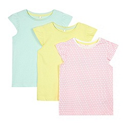 bluezoo - Pack of three girl's yellow, green and pink heart printed t-shirts