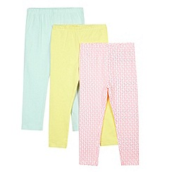 bluezoo - Pack of three girl's yellow, green and pink heart printed leggings