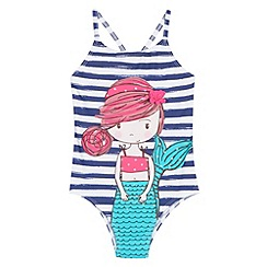 bluezoo - Girl's navy striped mermaid swimsuit