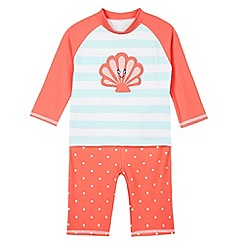 bluezoo - Girl's coral shell applique rash top and bottoms set