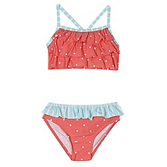 bluezoo - Girl's red spotted and striped tankini set
