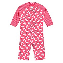 bluezoo - Girl's pink UPF dolphin spotted swimsuit